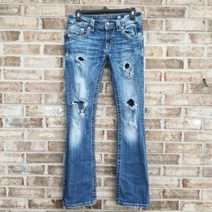 Miss Me 》 Heavily Distressed Signature Boot Jeans